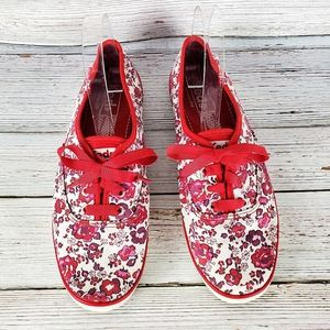 Keds Red Floral Lace Up Shoes Size 7